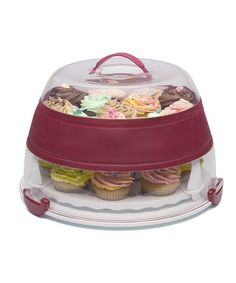 Holds 24 cupcakes or a round layer cake. NEED this!! Collapsible Cupcake & Cake Carrier by Progressive #zulily