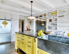 Stunning Kitchen Designs with 2-Toned Cabinets | Eclectic Kitchen with Yellow+White Two-Toned Cabinets via Houzz by J.A.S Design Build