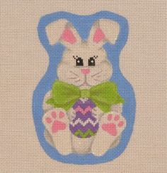 EA08 Bow tie Easter Bunny with an egg