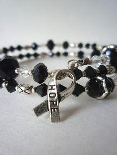 Black Melanoma Awareness Wrap Bracelet by TaMuidBeo on Etsy, $35.00