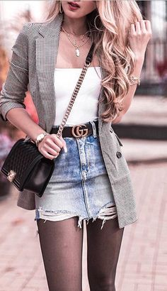 Sweet Fall and Winter Fashion Style Outfit Cute Casual Outfits, Chic Outfits, Casual Chic, Fashion Outfits, Fall Winter Outfits, Spring Outfits, Denim Mini Skirt, Mini Skirts, Top Jean