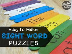Easy to Make Sight Word Puzzles with Craft Sticks - This Reading Mama