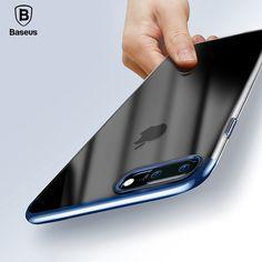 Baseus originale case trasparente per i casi di iphone 7 scintillio serie placcatura dura del pc shell di plastica per iphone 7 plus indietro copertura