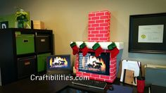 Holiday Office IDEA - FIREPLACE computer - cubicle - fun DIY Christmas decorations