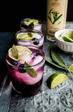 Blueberry Sage and Ginger Mojitos