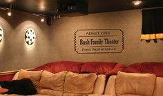 Wall Decal home theater movie ticket by bushcreative on Etsy, $25.00. Think this is at Andy's and court's??