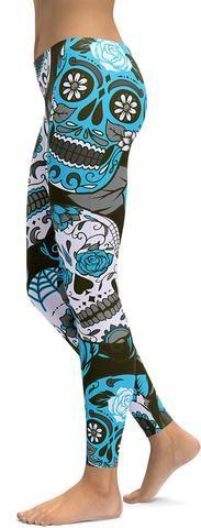 Sky Blue Sugar Skull Leggings - GearBunch Leggings / Yoga Pants