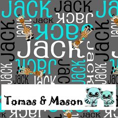 Jack Giraffe Minky Name Personalised Blanket Design. Choose your own, images, colours and name. Cot size $120 pp. Find us on FB, Tomas & Mason :)