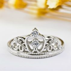 Lady's CZ Inlaid 925 Sterling Silver Crown Ring - USD $42.95