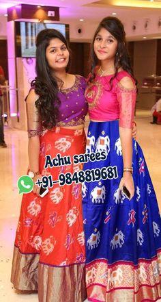 Kalamkari Dresses, Ikkat Dresses, Half Saree Lehenga, Saree Gown, Pattu Saree Blouse Designs, Half Saree Designs, Kids Blouse Designs, Kurta Designs Women, Bridal Silk Saree