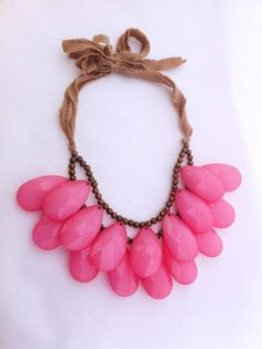 HUGE Hot Pink Double Strand Briolette Bib by EclecticOrnaments, $50.00