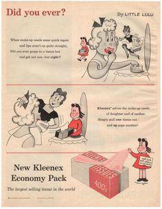 Vintage 1956 Little Lulu Magazine Print Advertisement 1950s Kleenex Ad Yogi Berra