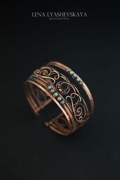 "Jewelry | Jewellery | ジュエリー | Bijoux | Gioielli | Joyas | Art | Arte | Création Artistique | Artisan | Precious Metals | Jewels | Settings | Textures | Браслет ""СОННЫЕ МИРАЖИ"" - Браслет из меди,широкий медный браслет,медный браслет"