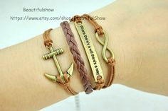 Anchor Infinity  bracelet Brown wax rope and by BeautifulShow, $4.99 Fashion charm handmade personalized bracelet, the best gift.