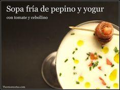 ¿Necesitas una receta rápida, saludable y refrescante? Te mostramos como preparar una sopa fría de pepino y yogur en 3 minutos. Eggs, Pudding, Breakfast, Desserts, Kitchen, Cold, Fast Recipes, Yogurt, Vitamin E