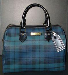 873551849874 RARE Ralph LAUREN POLO Plaid BLUE GREEN Speedy Bag BLACK LEATHER HANDLES    TAG