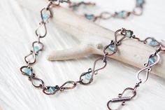 Beaded Copper Necklace, wire wrapped hammered infinity links pastel teal blue apatite beads, handcrafted antique solid copper chain necklace...