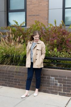 Why I Decided to Stop Caring About the Instagram Algorithm | Something Good, @danaerinw  , women, fashion, clothing, style, clothes, dc blogger, women's clothing, j.crew stripes, j.crew striped top, j.crew work pants, j.crew factory winnie, navy pants, striped polka dot shirt, madewell d'orsay flats, trench coat, fall style, fall fashion, fall work outfits