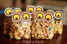 Fun treats for back-to-school (a wise old owl?) or Autumn snacks for the neighborhood kids?