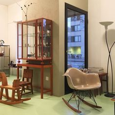 #today #comevisitus #designbutik #shop #opens at #noon #apero at 5pm #joseffrank #eames #rockingchair #rockinghorse