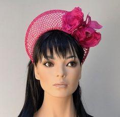Pink Straw Crown, Halo Crown Hat, Pink Flower Crown, Ladies Pink Hat, Women's Pink Fuchsia Hat, Wedding Hat, Formal Hat, Elegant Hat,