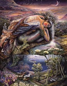 Mer Angel by Josephine Wall  This mythical creature is in a state of blissful repose as waterfalls cascade from her hair into a watery world of lily trees and river horses, galloping free down flowery slopes.  The quiet beauty of the moment and the company of her own thoughts bring her comfort and a sense of peace.