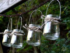 Four Rustic Mini Jar Lantern Candle by organicmountainwoman