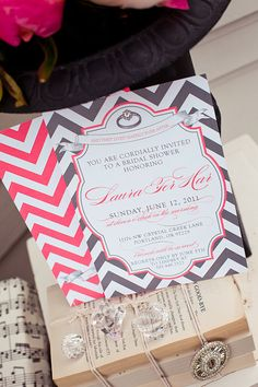 Gray Chevron Bridal Shower Invitations - Printables available as well in her shop! So beautiful! @Jessica Wilcox-Modern Moments Designs