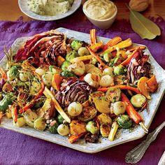 Roasted Vegetable Salad with Apple Cider Vinaigrette | MyRecipes/Southern Living - can prep 2 days ahead