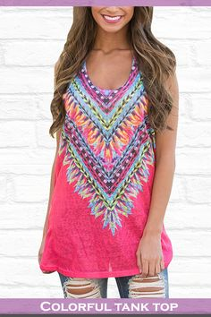 Elapsy Womens Summer Tribal Print Sleeveless Loose Tunic Tank Tops Casual Blouses Vest T Shirt $9.99 – $13.99 & Free Return on some sizes and colors #tanktops