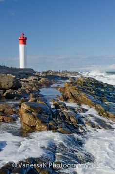 ✮ Umhlanga Rocks lighthouse watches over the rocky coastline just north of Durban in KwaZulu Natal - South Africa - Special memories ! Places To Travel, Places To See, Durban South Africa, Alexandria, Kwazulu Natal, Out Of Africa, Am Meer, Africa Travel, Strand