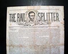 Rare Abraham Lincoln Presidential Campaign THE RAIL  SPLITTER, October 3, 1860 Newspaper of Cincinnati, Ohio.