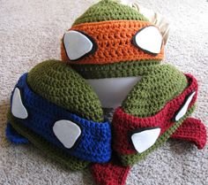 Ninja Turtle Beanie Pattern all sizes    Gabe asked me to go to Pinterest (his favorite website), and immediately pointed right to this pin.  So it's going on his board!  Hmmmm...can I teach my 6 yr old to crochet?