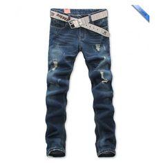 Fashion Men Grind Arenaceous Fashion Holes Long Jeans Pants Blue... ($25) via Polyvore
