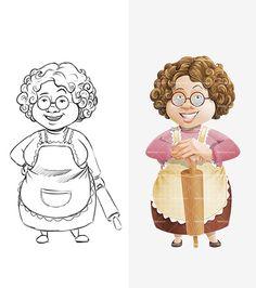 Granny Cartoon Character: http://tooncharacters.com/female-cartoon-characters/granny-cartoon-character/