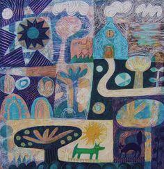 Hilke MacIntyre  Garden with dog and cat  acrylic on canvas  40 x 40 cm