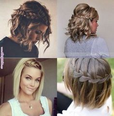 Braids with waves, dressy/casual hair styles Up Hairstyles, Pretty Hairstyles, Braided Hairstyles, Wedding Hairstyles, Short Bridesmaid Hairstyles, Hairstyle Ideas, Medium Hair Styles, Curly Hair Styles, Pinterest Hair
