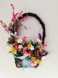 Grapevine Basket Flowers Spring Basket Wreath Easter Wreath