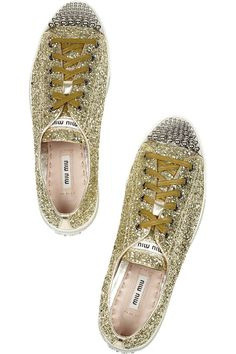 Miu Miu|Studded glitter-finished leather sneakers|NET-A-PORTER.COM