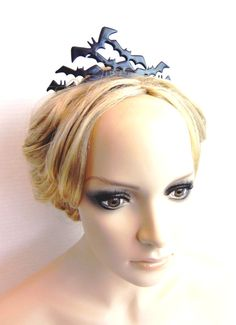 Flying Bat Tiara Goth gothic vampire inspired Black Distressed hair ornament perfect for the noir bride-Dark fluttering minions of the night