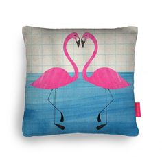 Flamingo heart Cushion by The Black Rabbit as part of the 'Ohh Deer - Pillow Fight' competition. #cushion #print #theblackrabbit #textiles #madeinuk #gbmade #flamingo #heart
