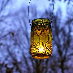 Hand Painted Mason Jar Lantern Lemon Tinted Glass with by LITdecor, $28.00