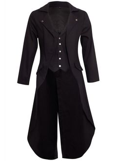 Banned Apparel Gothic Victorian Tailcoat Jacket. Alternative men s black steampunk  jacket with waistcoat inset c6b76618460