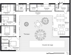 Denah Rumah 488148047115177237 - Source by martinleglise U Shaped House Plans, U Shaped Houses, Pool House Plans, House Layout Plans, Dream House Plans, House Layouts, Flat House Design, Simple House Design, Modern House Design