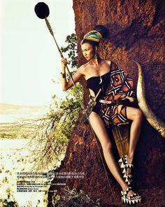 Wang Xiao by Yin Chao for Harper's Bazaar China November 2013, african fashion editorial, mudcloth
