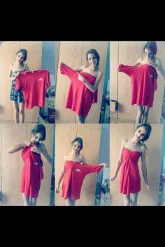 Schnellste und beste Lösung aus einem viel zu großen T-Shirt, ein Kleid zu machen ...
