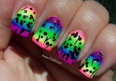 Neon Rainbow Gradient Nails with Black Glitter