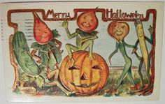 Five anthropomorphized vegetables gathered around a jack-o-lantern: