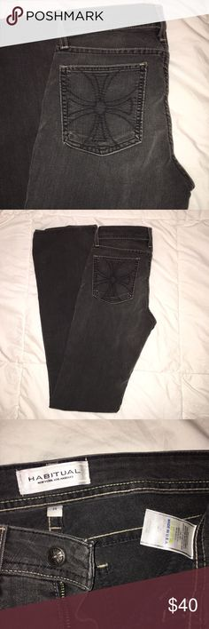 Habitual jeans. Stonewash gray look Black The Maltese cross and design on the back pocket suggests coverage under truth and pray pray your casual coat of arms Habitual Jeans Straight Leg