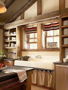 Farmhouse kitchen sink area...awesome.